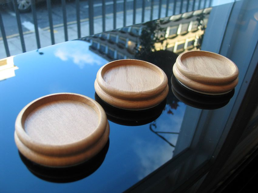 Oak wood castor cups