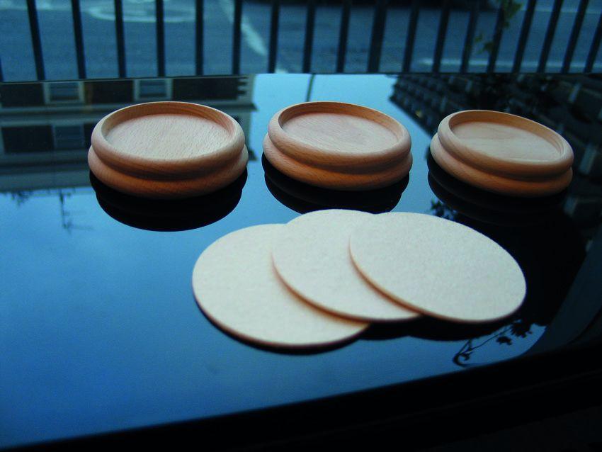 Unpolished wood castor cups