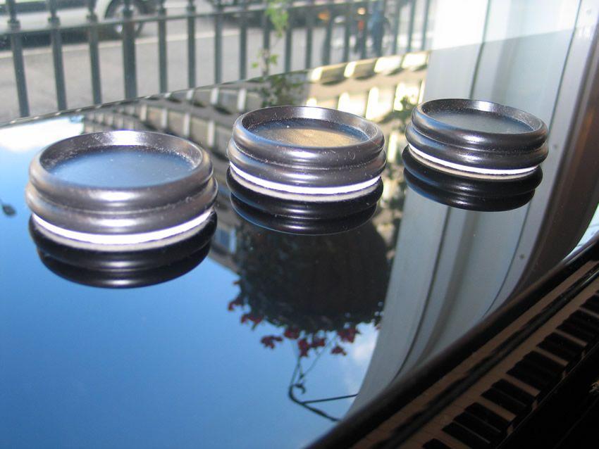 Black wood castor cups